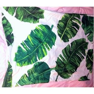 VS PINK Green Leaves Pillow case Bedding